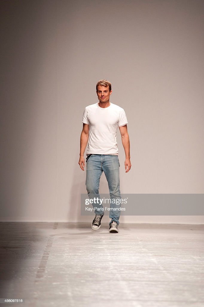 Christian Wijnants walks the runway during the Christian Wijnants show as part of the Paris Fashion Week Womenswear Spring/Summer 2015 on September...