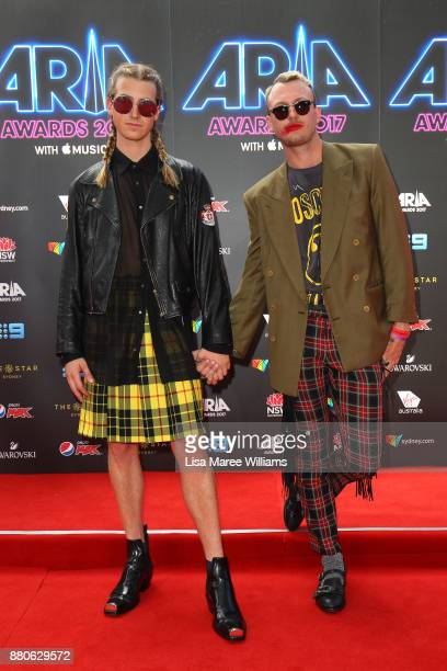 Christian Wilkins and Andrew Kelly arrive for the 31st Annual ARIA Awards 2017 at The Star on November 28 2017 in Sydney Australia