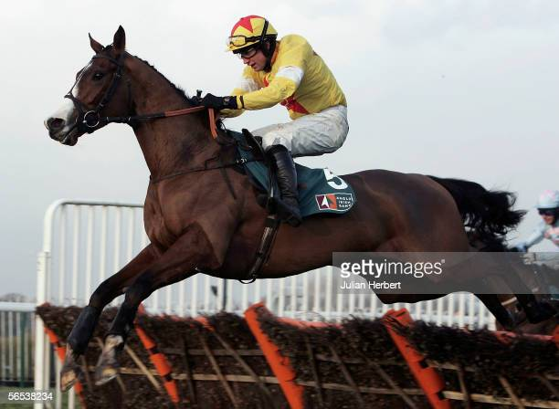 Christian Williams and Noland clear the last flight before landing The Anglo Irish Bank Corporrate Treasury Tolworth Hurdle Race run at Sandown Park...