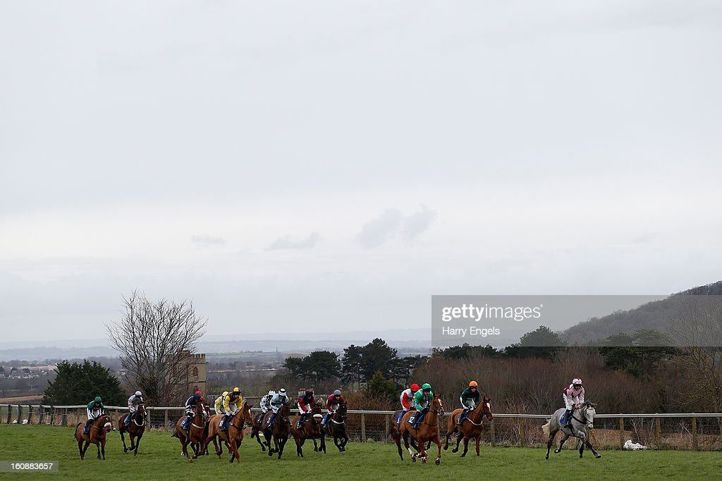Christian Williams riding Long John (R) leads the field during the Ladies Day 24th April Maiden Hurdle race at Taunton Racecourse on February 7, 2013 in Taunton, England.