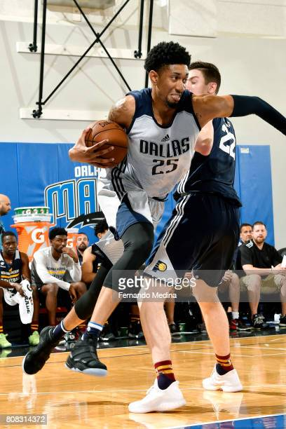 Christian Wood of the Dallas Mavericks drives to the basket during the game against the Indiana Pacers during the 2017 Orlando Summer League on July...