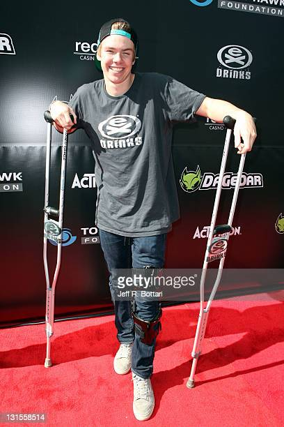 Christian Wright professional gravity mountain bike rider arrives at the third annual Stand Up for Skateparks benefit at the Red Rock Casino to...