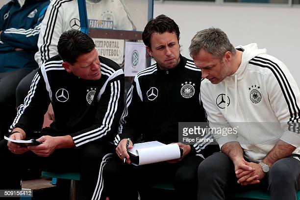 Christian Wuck coach of Germany chats with his staff during the UEFA Under16 match between U16 France v U16 Germany on February 6 2016 in Vila Real...