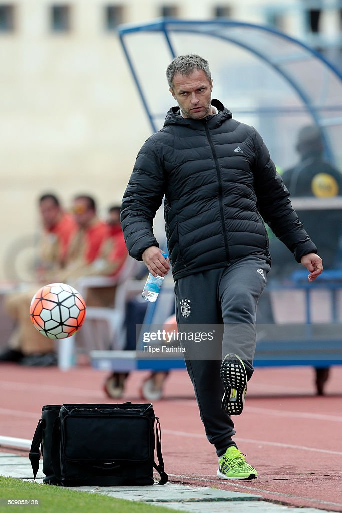 Christian Wuck, coach of Germany during the UEFA Under16 match between U16 Germany v U16 Netherlands on February 8, 2016 in Vila Real de Santo Antonio, Portugal. (Photo by Filipe Farinha/Bongarts/Getty Images