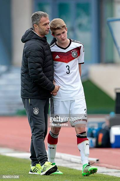 Christian Wuck coach of Germany with his player Jan Boller during the UEFA Under16 match between U16 Germany v U16 Netherlands on February 8 2016 in...