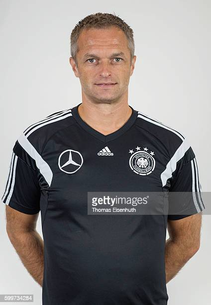 Christian Wueck head coach of the Germany national U17 team poses during the team presentation on September 6 2016 in Jena Germany