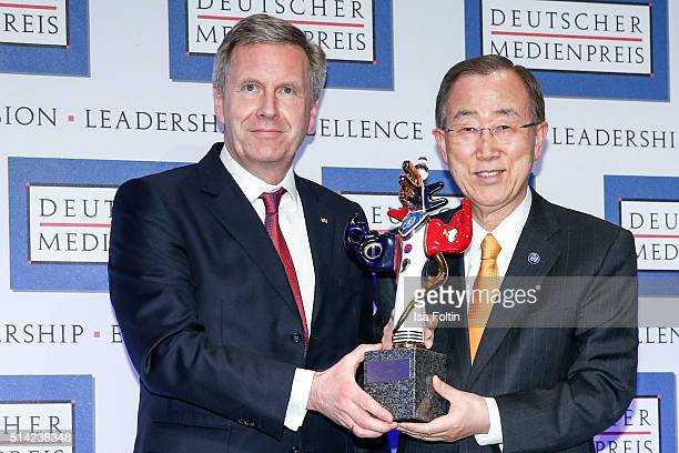 Christian Wulff and Ban KiMoon during the German Media Award 2016 on March 07 2016 in BadenBaden Germany