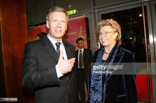 Christian Wulff And Vivian Reding On the TOnline media meeting 'Talk @ Night' On of the CeBIT in Hannover 080306