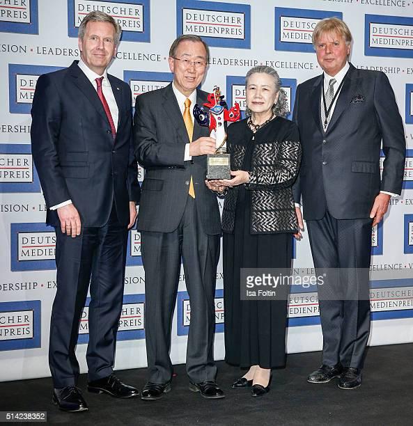 Christian Wulff Ban KiMoon Yoo SoonTaek and Karlheinz Koegel during the German Media Award 2016 on March 07 2016 in BadenBaden Germany