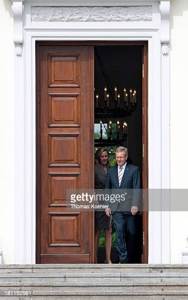 Christian Wulff CDU German Federal President and his wife Bettina during a photo shoot walking out of the Bellevue Palace