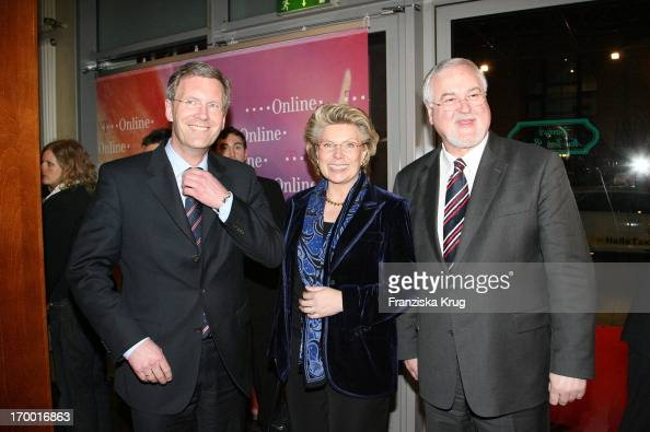 Christian Wulff Vivian Reding On And Peter Harry Carstensen the TOnline media meeting 'Talk @ Night' on of Cebit in Hannover 080306 P