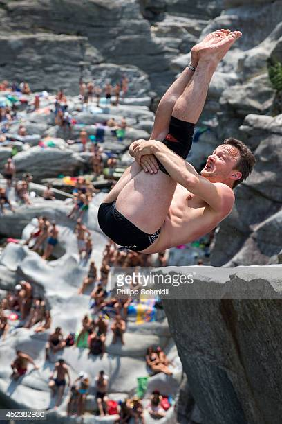 Christian Wurst of Germany dives from a 20 metre rock during the Cliff Diving European Championship on July 19 2014 in Ponte Brolla near Locarno...