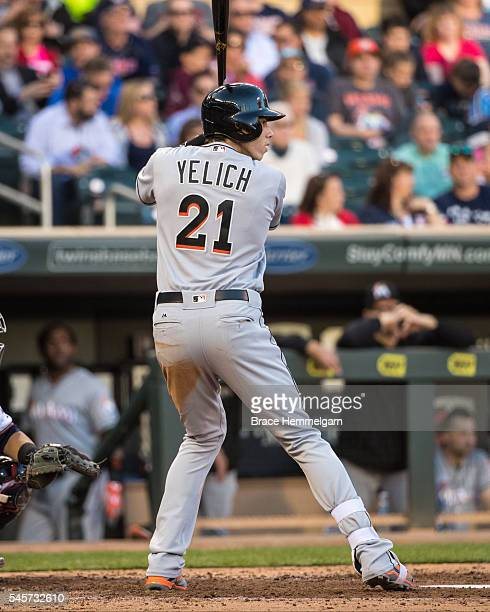 Christian Yelich of the Miami Marlins bats against the Minnesota Twins on June 7 2016 at Target Field in Minneapolis Minnesota The Twins defeated the...