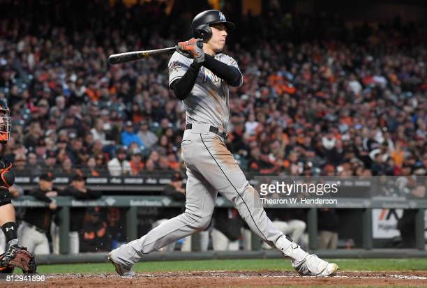 Christian Yelich of the Miami Marlins bats against the San Francisco Giants in the top of the fifth inning at ATT Park on July 8 2017 in San...