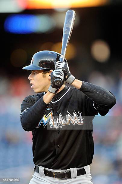 Christian Yelich of the Miami Marlins bats against the Washington Nationals at Nationals Park on April 9 2014 in Washington DC