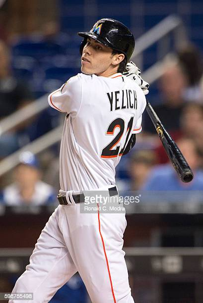Christian Yelich of the Miami Marlins bats during a MLB game against the Kansas City Royals at Marlins Park on August 25 2016 in Miami Florida...