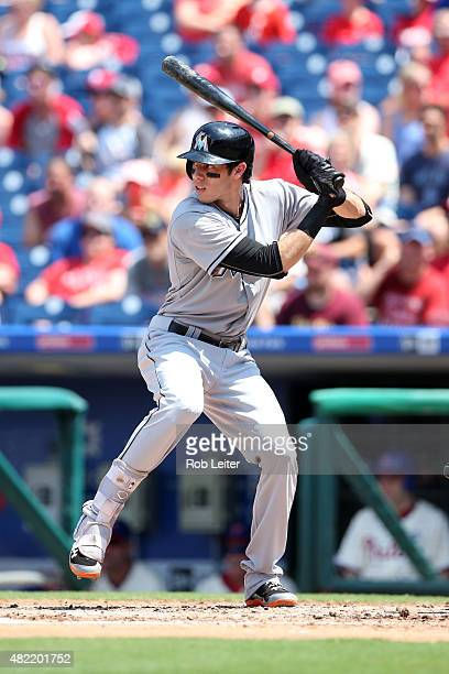 Christian Yelich of the Miami Marlins bats during the game against the Philadelphia Phillies at Citizens Bank Park on July 19 2015 in Philadelphia PA...