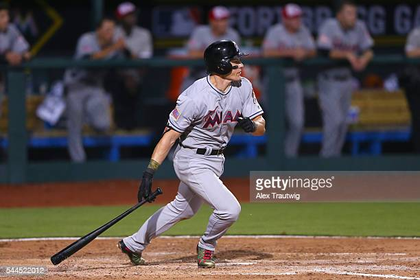 Christian Yelich of the Miami Marlins bats during the game agasint the Atlanta Braves at Fort Bragg Stadium on Sunday July 3 2016 in Fort Bragg North...