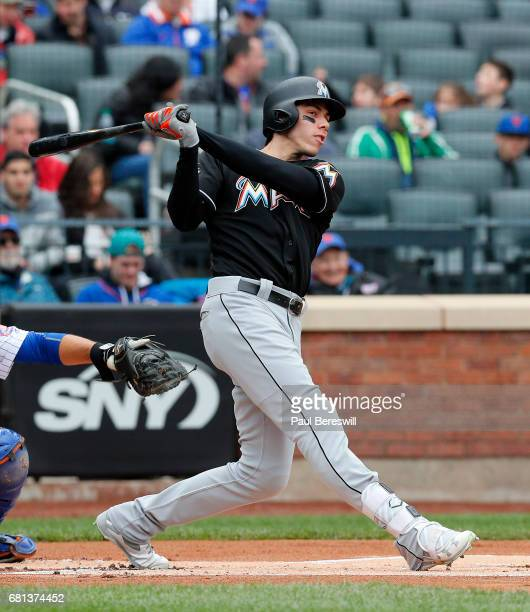 Christian Yelich of the Miami Marlins bats in an MLB baseball game against the New York Mets on May 7 2017 at CitiField in the Queens borough of New...