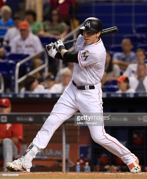 Christian Yelich of the Miami Marlins hits during a game against the Philadelphia Phillies at Marlins Park on May 31 2017 in Miami Florida