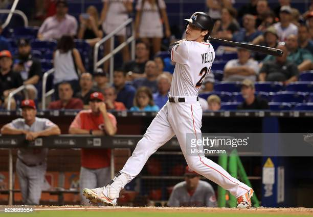 Christian Yelich of the Miami Marlins hits during a game against the Cincinnati Reds at Marlins Park on July 27 2017 in Miami Florida
