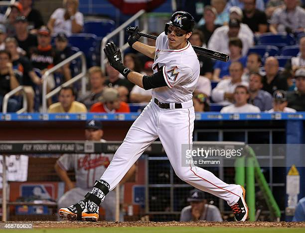 Christian Yelich of the Miami Marlins hits during Opening Day against the Atlanta Braves at Marlins Park on April 6 2015 in Miami Florida