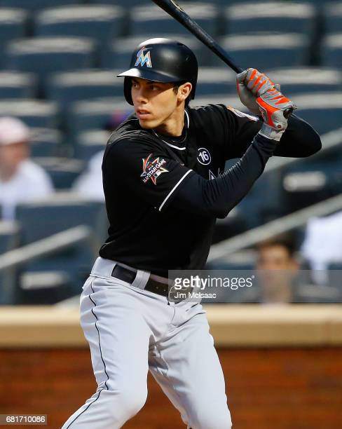 Christian Yelich of the Miami Marlins in action against the New York Mets at Citi Field on May 5 2017 in the Flushing neighborhood of the Queens...