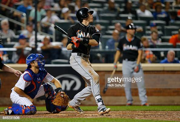 Christian Yelich of the Miami Marlins in action during a game against the New York Mets at Citi Field on September 1 2016 in the Flushing...