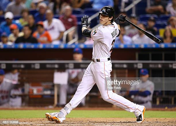 Christian Yelich of the Miami Marlins in action during the game against the New York Mets at Marlins Park on August 4 2015 in Miami Florida