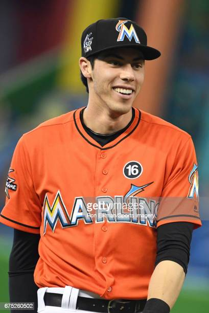 Christian Yelich of the Miami Marlins looks on during a MLB game against the Pittsburgh Pirates at Marlins Park on April 30 2017 in Miami Florida