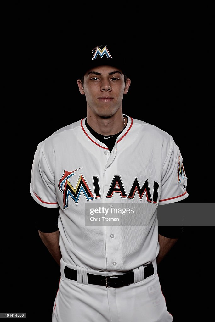 <a gi-track='captionPersonalityLinkClicked' href=/galleries/search?phrase=Christian+Yelich&family=editorial&specificpeople=9527291 ng-click='$event.stopPropagation()'>Christian Yelich</a> #21 of the Miami Marlins poses for a photograph at Spring Training photo day at Roger Dean Stadium on February 25, 2015 in Jupiter, Florida.