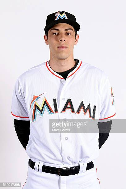 Christian Yelich of the Miami Marlins poses for photos on media day at Roger Dean Stadium on February 24 2016 in Jupiter Florida