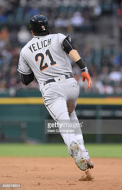 Christian Yelich of the Miami Marlins runs the bases during the game against the Detroit Tigers at Comerica Park on June 28 2016 in Detroit Michigan...