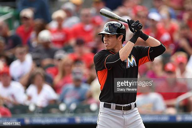 Christian Yelich of the Miami Marlins waits for a pitch during a spring training game against the St Louis Cardinals at Roger Dean Stadium on March 8...