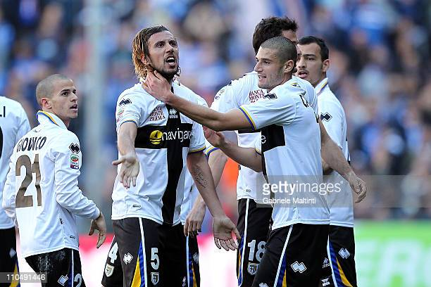 Christian Zaccardo of Parma FC celebrates with teammates after scoring the opening goal during the Serie A match between UC Sampdoria v Parma FC at...