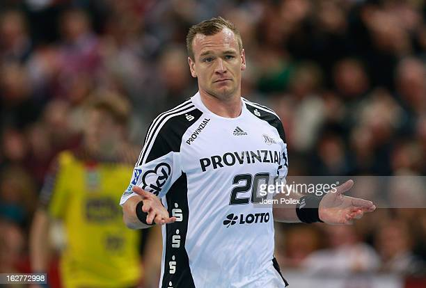 Christian Zeitz of Kiel celebrates during the DKB Handball Bundesliga match between THW Kiel and Fuechse Berlin at SparkassenArena on February 26...