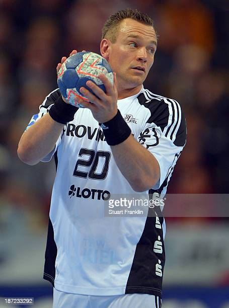 Christian Zeitz of Kiel in action during the Bundesliga handball match between THW Kiel and Rhein Neckar Loewen at the Sparkasse arena on November 6...