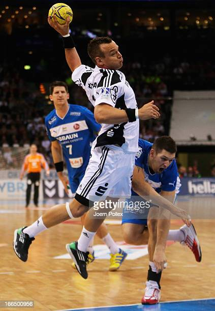 Christian Zeitz of Kiel scores during the Lufthansa Final Four SemiFinal between MT Melsungen and THW Kiel at O2 World on April 13 2013 in Hamburg...