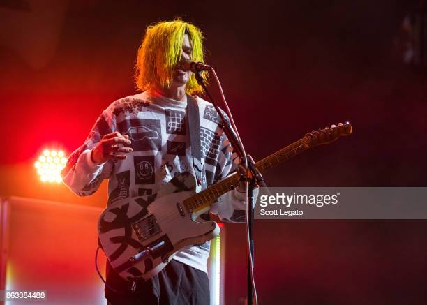 Christian Zucconi of Grouplove perform during the Evolve World Tour at Little Caesars Arena on October 19 2017 in Detroit Michigan