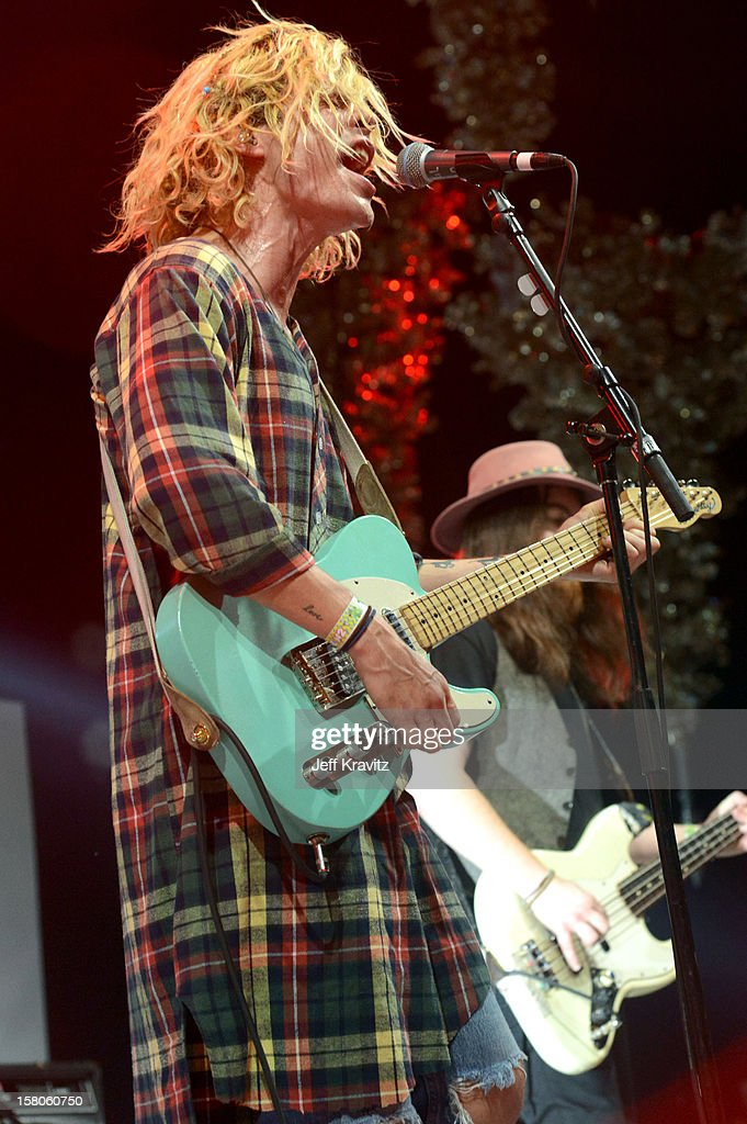 Christian Zucconi of Grouplove performs at the KROQ Acoustic Xmas show at Gibson Amphitheatre on December 9, 2012 in Universal City, California.