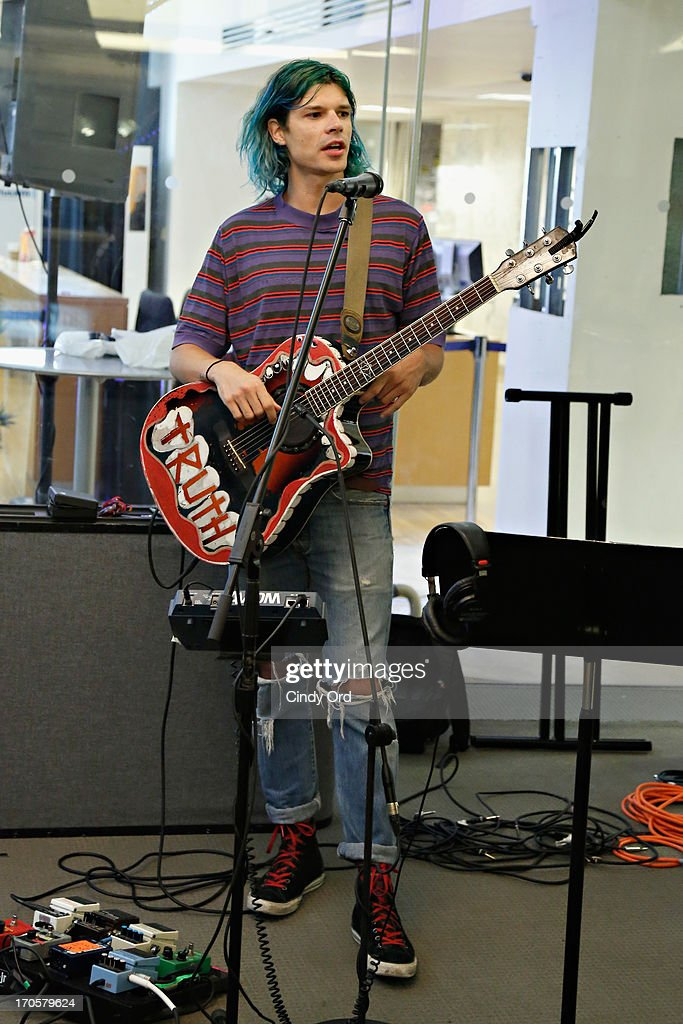 Christian Zucconi of Grouplove performs at the SiriusXM Studios on June 14, 2013 in New York City.