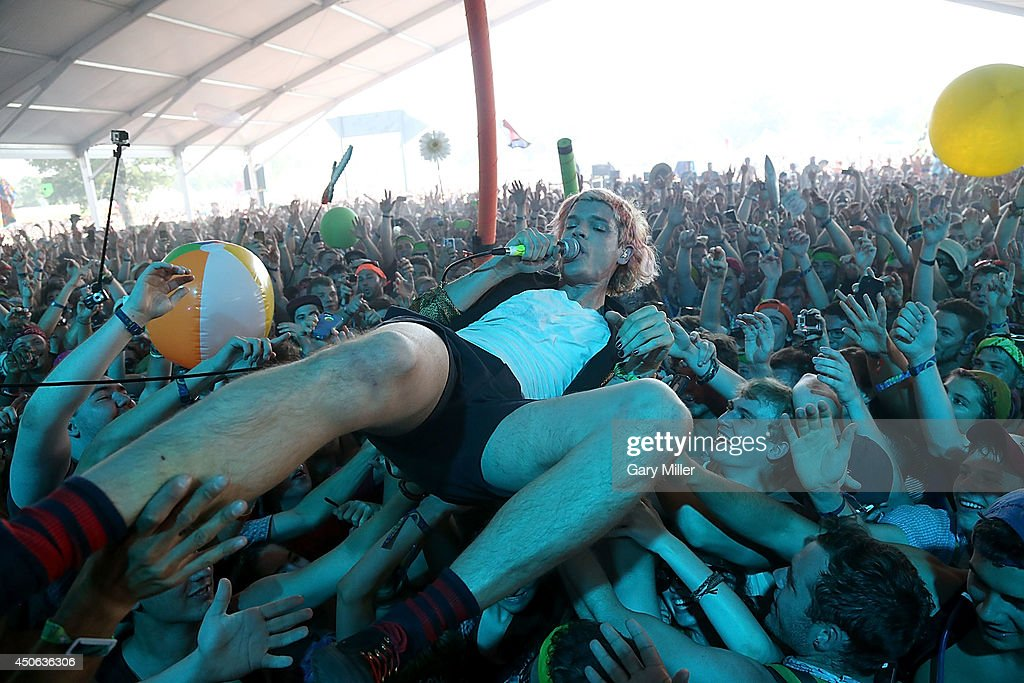 Christian Zucconi performs in concert with Grouplove during the 2014 Bonnaroo Music & Arts Festival on June 14, 2014 in Manchester, Tennessee.