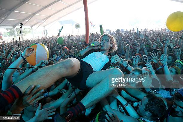 Christian Zucconi performs in concert with Grouplove during the 2014 Bonnaroo Music Arts Festival on June 14 2014 in Manchester Tennessee
