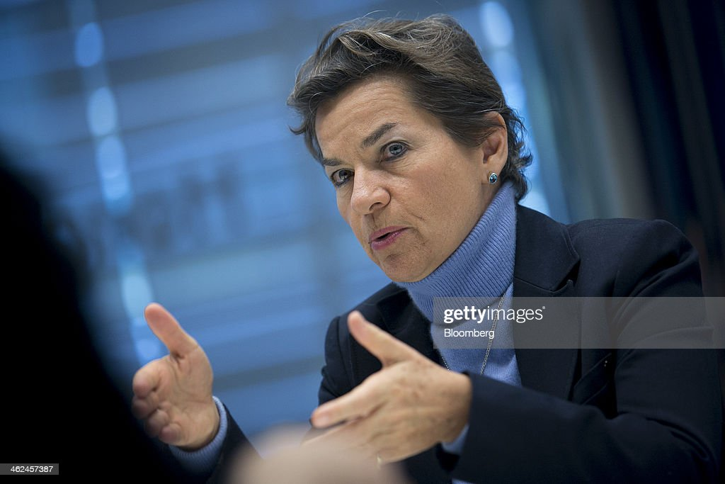 Christiana Figueres, executive secretary of the UN Framework Convention on Climate Change, speaks during an interview in New York, U.S., on Monday, Jan. 13, 2014. 'Coal must change rapidly and dramatically for everyone's sake,' Figueres said in a Nov. 18 speech to industry executives at the Warsaw Coal & Climate Summit. 'The coal industry faces a business continuation risk that you can no longer afford to ignore.' Photographer: Scott Eells/Bloomberg via Getty Images