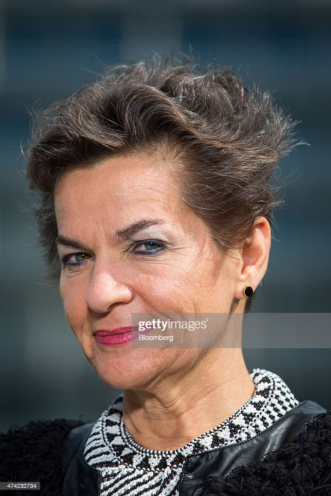 Christiana Figueres, executive secretary of the United Nations framework convention on climate change, poses for a photograph ahead of a Bloomberg Television interview during the Business Climate Summit outside the Organisation for Economic Co-operation and Development (OECD) headquarters in Paris, France, on Thursday, May 21, 2015. Executives of companies including Areva SA, Total SA and L'Oreal SA are due to present their carbon reduction targets at the summit, ahead of major international climate conference COP21 in Paris in December. Photographer: Jasper Juinen/Bloomberg via Getty Images