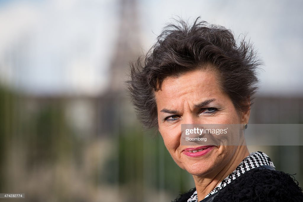 Christiana Figueres, executive secretary of the United Nations framework convention on climate change, reacts during a Bloomberg Television interview at the Business Climate Summit outside the Organisation for Economic Co-operation and Development (OECD) headquarters in Paris, France, on Thursday, May 21, 2015. Executives of companies including Areva SA, Total SA and L'Oreal SA are due to present their carbon reduction targets at the summit, ahead of major international climate conference COP21 in Paris in December. Photographer: Jasper Juinen/Bloomberg via Getty Images