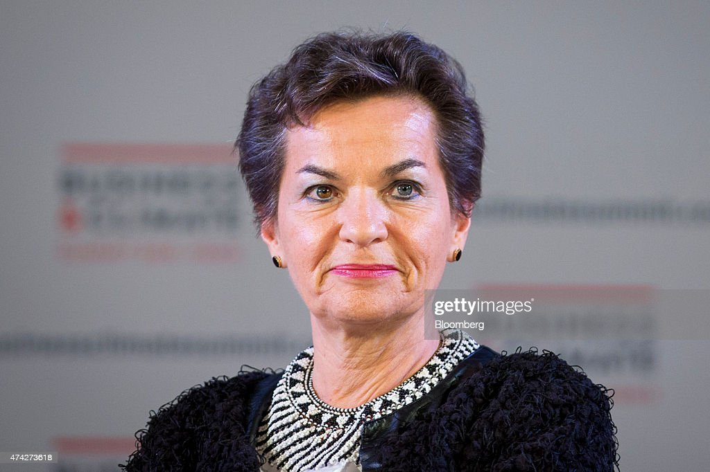 Christiana Figueres, executive secretary of the United Nations framework convention on climate change, listens during the Business Climate Summit in Paris, France, on Thursday, May 21, 2015. Executives of companies including Areva SA, Total SA and L'Oreal SA are due to present their carbon reduction targets at the summit, ahead of major international climate conference COP21 in Paris in December. Photographer: Jasper Juinen/Bloomberg via Getty Images