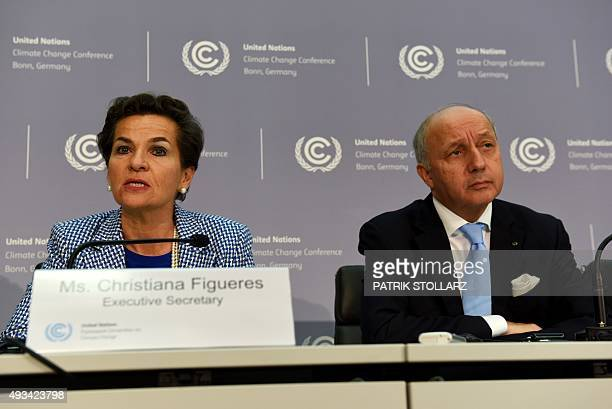 Christiana Figueres Executive Secretary of the United Nations Framework Convention on Climate Change and French Foreign Minister Laurent Fabius...