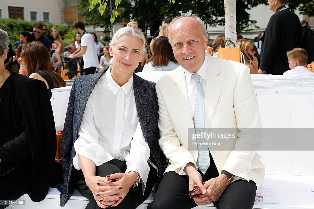 <a gi-track='captionPersonalityLinkClicked' href=/galleries/search?phrase=Christiane+Arp&family=editorial&specificpeople=2942750 ng-click='$event.stopPropagation()'>Christiane Arp</a> and a guest are seen at the presentation of the Rauch Happy Day Limited Edition designed by Marina Hoermanseder ahead of the Marina Hoermanseder defilee during the Der Berliner Mode Salon Spring/Summer 2017 at Kronprinzenpalais on June 30, 2016 in Berlin, Germany.