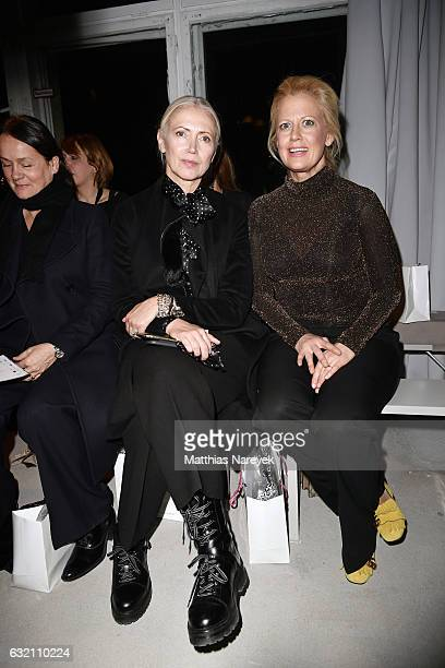 Christiane Arp and Barbara Schoeneberger attend the Dawid Tomaszewski X Patrizia Aryton show during the MercedesBenz Fashion Week Berlin A/W 2017 at...